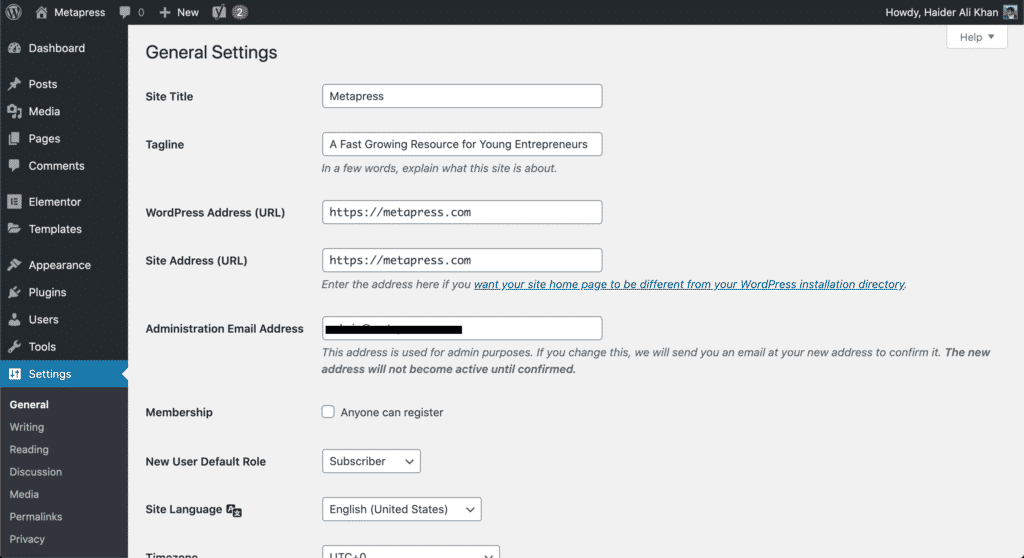 Settings page on WordPress